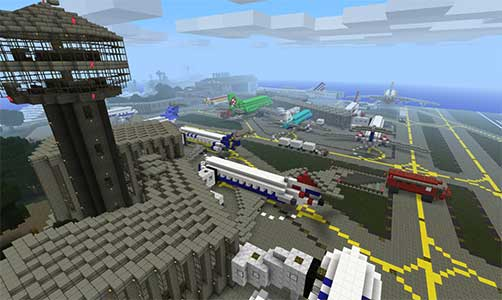 Minecraft Airport - Minecraft airport map save - check out this cool Minecraft maps - map for Minecraft save for Minecraft looking as an aiport - with planes, runway and other airport accessories