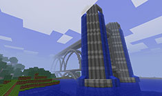Really cool Minecraft building based on the brigde and waterfall - 03