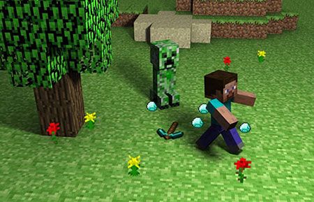 Minecraft Creeper chasing Steve through the forest, and few diamonds and diamond pickaxe lay on the floor. Artistic Minecraft fanart picture screen - Creepers gonna creep
