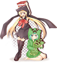 Minecraft Blocks Girls - art, fan art representingcute pretty  girls as Minecraft creatures Creeper and Enderman - the popular Minecraft mobs in manga style - on our website you can find Minecraft servers, Minecraft skins, Minecraft textures, Minecraft mods, Minecraft wallpaper, Minecraft latest news and many more