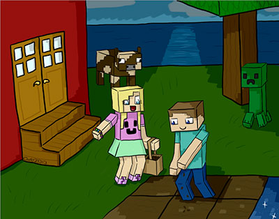Minecraft picture art picturing Steve with his cute pretty girlfriend and near it's their house, with cow and creeper looking through the shadows