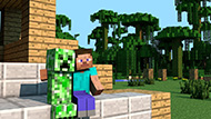 Download Minecraft wallpaper - Creeper and Steve are good friends wallpapers Minecraft for free - 06