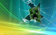 Download Minecraft wallpaper - Broken desktop creeper hiding from the back of desktop wallpapers Minecraft for free - 13